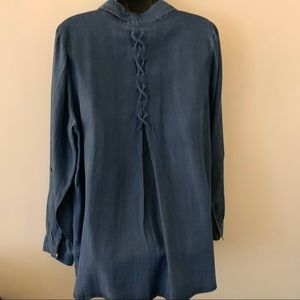 Style & Co Tops - Style & Co Chambray Embroidered Shirt 1X Plus LS